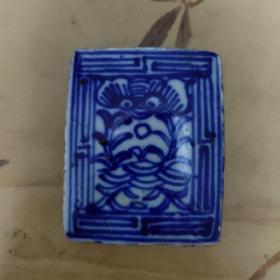 民国青花方型印泥盒