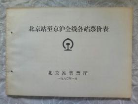 《北京站至京沪全线各站票价表》1980年1月