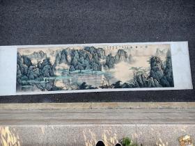 """齐云平(中华书画学会副主席)国画""""漓江春色""""(长415厘米,宽108厘米)"""