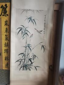 竹子飞鸟图