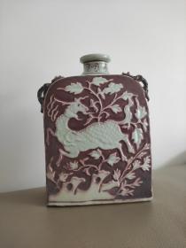 元釉里红鹿纹花卉扁壶