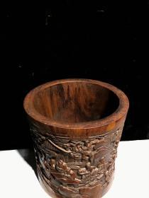 黄花梨雕刻浮雕竹林七贤松竹笔筒,完好无裂,一木正挖