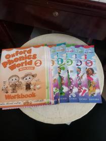 Oxford Phonics World (1-5+Workbook2-5)9册合售,书边有水渍!~