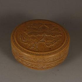 吉州窑黄釉胭脂盒粉盒