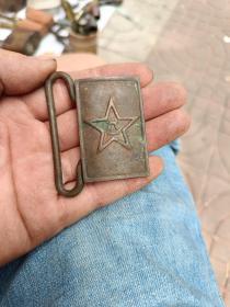 全铜解放军军用八一皮带扣