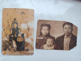老照片:民国时期国民党高级军官家庭照两张(大尺寸,单张20cm以上)