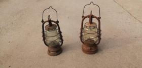 民国时期,进口老提灯马灯,玻璃罩上有火炬,两个一起出