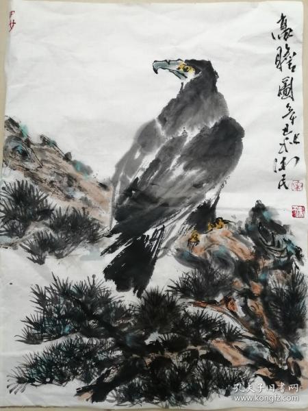 手绘国画花鸟高瞻图