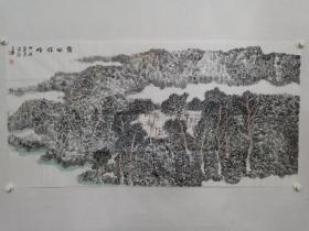 保真书画,当代山水画名家,中国美协会员,国家一级美术师,萧宏德《霞映群峰》山水画一幅,软片,尺寸68.5×136.5cm。