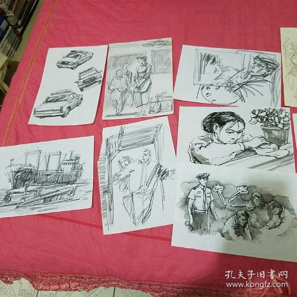 中国人民公安大学出版社美术编辑主任,天津版画协会【王维纲】画稿302幅(不乏精品,大概有10幅为打印画稿,有些作品已发表在刊物上,另送寄给他的信件一批)