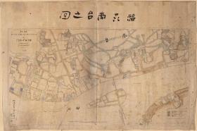 古地图1884 福州南台之图。纸本大小145.32*97厘米。宣纸艺术微喷复制。