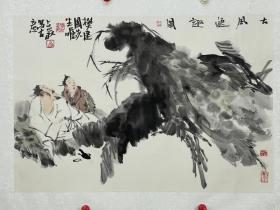 梁占岩  尺寸  79/55  镜片  1956年生,河北武强人,1979年师从周思聪:卢沉先生,现为中国国家画院国画院常务副院长。