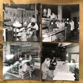 【老照片】五六十年代北京百货商场衣帽专柜 面料专柜 布鞋专柜老照片4张