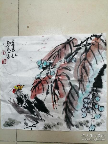手绘国画花鸟小品c