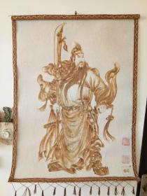 羊毛毡烙画《武财神关公》(86X60cm)河南省民间工艺美术大师李哲先生匠心制作,镇宅辟邪保平安,馈赠亲友之佳品。