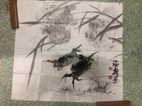 海内外闻名,樟林堂基督教老会长,樟林郑瑞戎,画蟹名家作品,58*61厘米