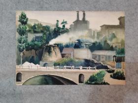 七八十年代老旧水彩画无签名 风景 原稿真迹(著名画家,西安美院高材生作品)