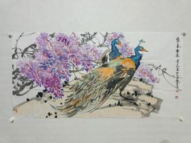 中国人民大学艺术学院花鸟画工作室导师 郑瑰玺作品《紫气东来》