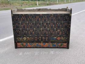 彩绘描金老榆木官用药柜,柜台,彩绘描金,全品包老