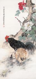 动物画 刘奎龄-鸡鸣富贵图。纸本大小52*112厘米。宣纸艺术微喷复制。