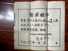 """1960年""""山西省级机关业余文化学校""""结业证"""