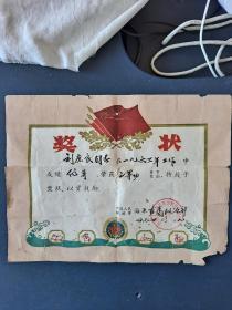 海军直属政治部奖状(1964年)三等功