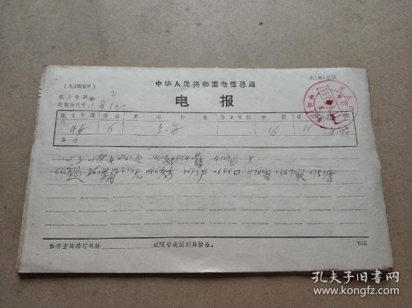 1973年中国人民电信总局电报14封 都盖有邮戳 32开