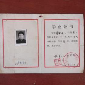 老票证《毕业证》文革后期 齐齐哈尔市第二十一中学 1981年 私藏 书品如图
