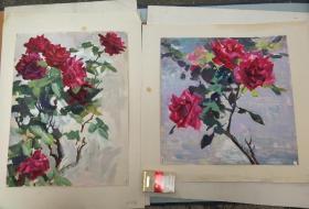 钟绍琳'花卉水粉画'2幅(乌密风亲笔签名)尺寸48✘35厘米