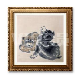 画57回流布面双犬图,36×90厘米,款印如图,品相如圖好,具体手绘还是机器还是织绣,请自己认定有细部图,我也不确定望理解。