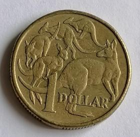 澳大利亚1元硬币袋鼠保真