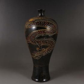定窑黑釉刻花龙纹梅瓶