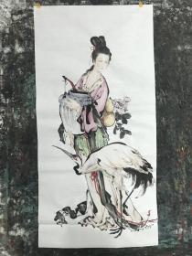 纯手绘国画人物画(麻姑晋酿)