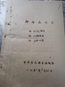 零陵税务文献     1952年登记表含自传   有虫蛀孔洞  同一来源有装订孔
