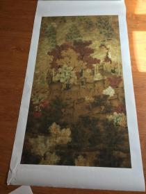 丹枫呦鹿图立轴(五代 佚名 )。纸本大小64.1*117.26厘米,宣纸艺术微喷复制。