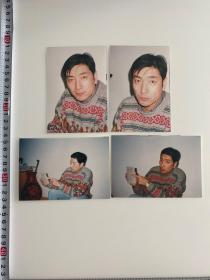 中国内地影视演员 谢钢照片一组四张 附底片 1999年,主演《共和国之旗》。2004年,在战争题材电影《风起云涌》中饰陈云