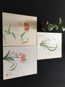 【4073】日本回流 花鸟 色画纸画 3幅