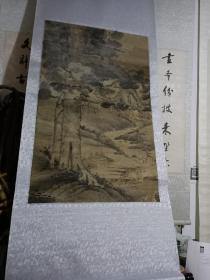 清代手绘无款山水人物画。88/54