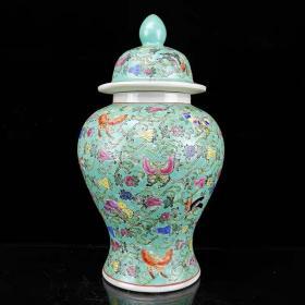 建国初期绿釉手绘瓜蝶纹将军罐