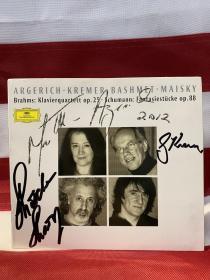 钢琴家阿格里奇、小提琴家克雷默、大提琴家梅斯基合签 勃拉姆斯《钢琴四重奏》舒曼《幻想曲》CD一张,DG公司出品,签于2002年