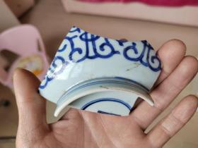 瓷片标本满百包邮,清代莲托寿青花大碗瓷片标本