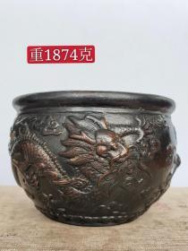 旧藏,双龙戏珠铜香炉,包浆自然浑厚,器型周正。