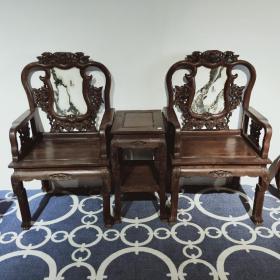 黑檀木太师椅三件套 硬度大,密度高,品相完美,镶有云石 桌子46*36*70   椅子64*50*113