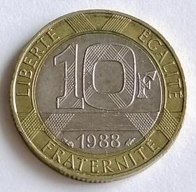 法国1988年10法郎双色硬币天使