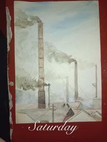 1956年水墨画烟囱