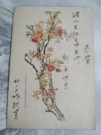 1956年贺年卡  石榴 刘子久作
