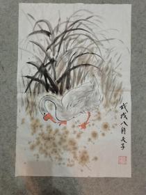 国画 鹅 原稿手绘真迹画心软片