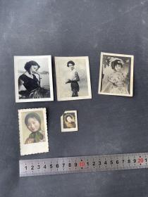 民国老照片5张50元 民国美女明星黑白照片 手工上彩照片