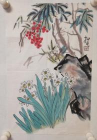 陆抑非:软片小品,纸张泛旧,局部有黄斑点,如图。陆抑非(1908年-1997年),名翀,字一飞,1937年后改抑非,花甲后自号非翁,古稀之年沉疴获痊,又号苏叟。江苏常熟人,是中国现当代杰出的画家和卓越的美术教育家。擅花鸟画,尤以牡丹为长,作品有《花好月圆》、《春到农村》、《寿桃图》等。