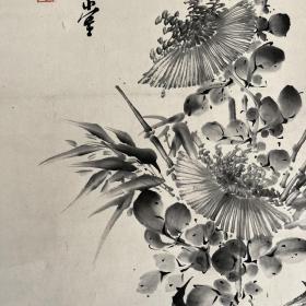 日本回流水墨瓶花图,纸本纸裱,少一木轴头,画心79.5*26,装裱有破损